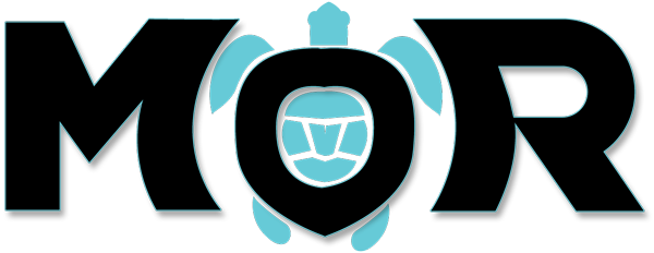 Maui Ocean Rentals logo which is black text that spells MOR with a blue sea turtle icon built into the O.