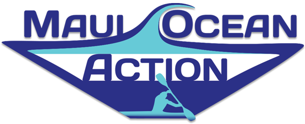 big Maui Ocean Action logo lis dark blue, white and turquoise with a wave and kayak paddler.