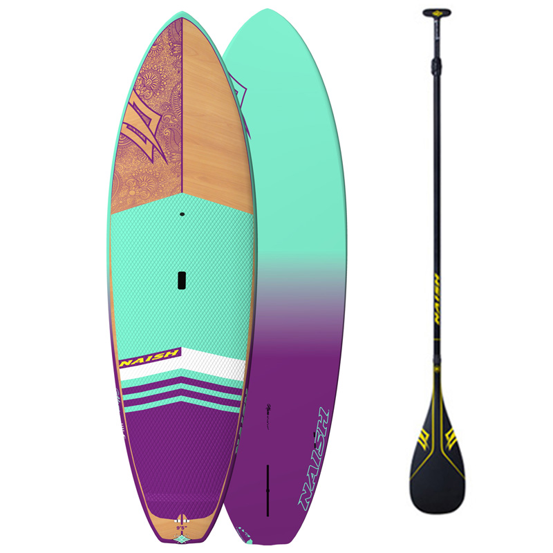 Purple, sea foam green and yellow Naish SUP stand up paddle board rental.