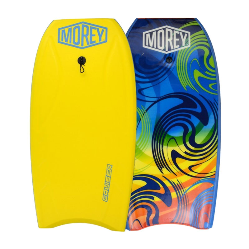 Yellow and blue Morey Cruiser boogie boards for rent from Maui Ocean Rentals.