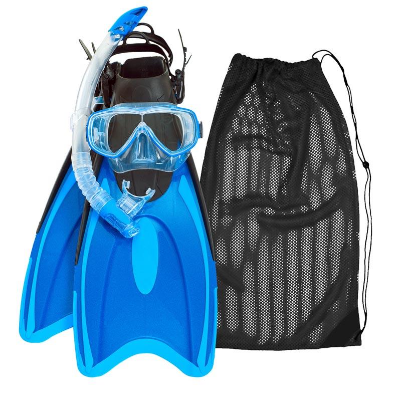 Blue snorkel mask, blue fins and black mesh bag snorkel gear kit rental.