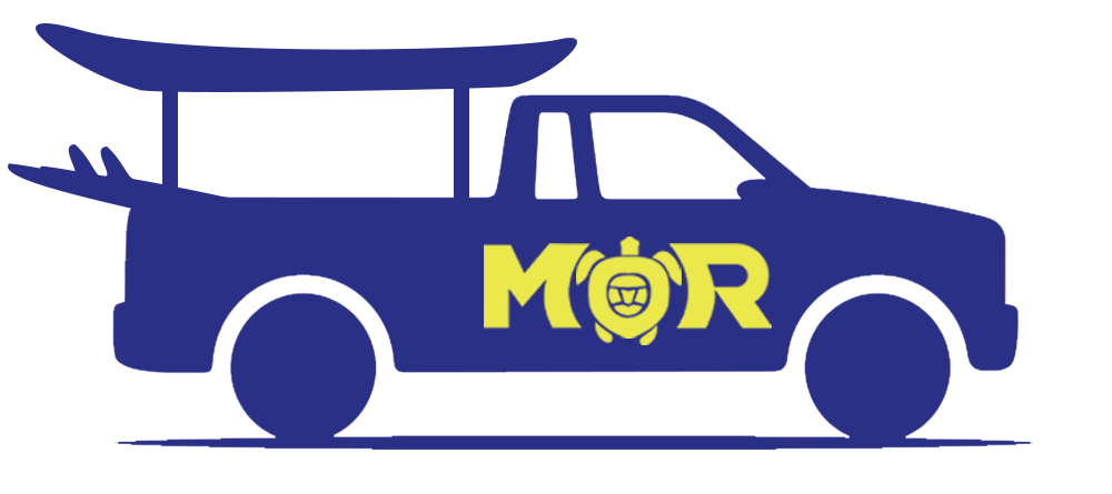 Maui Ocean Rentals delivery truck icon in blue with yellow logo.