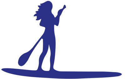Blue icon graphic of a woman paddling a stand up paddle board.