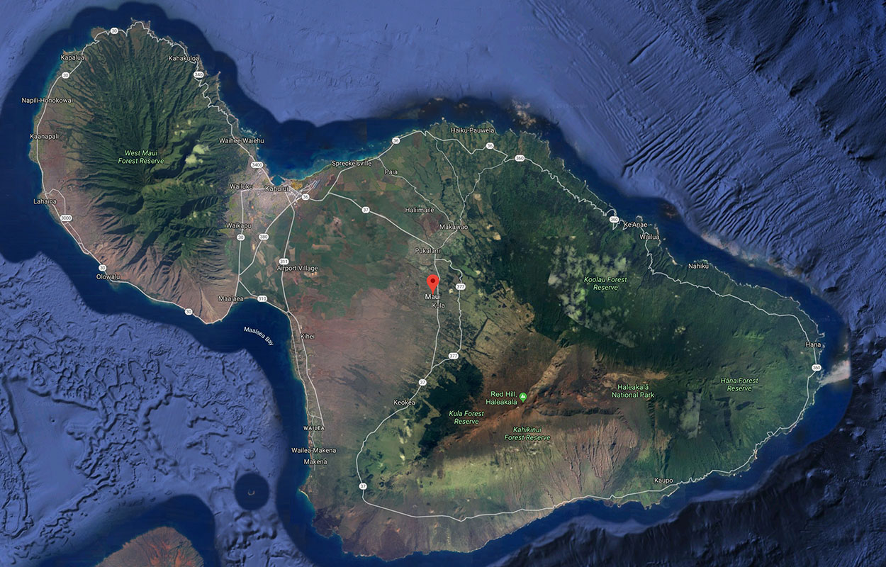 Satellite map view of the island of Maui.
