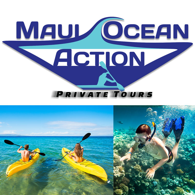 Maui Ocean Action private kayak and stand up paddle board tours logo and people kayaking and snorkeling with fish on Maui.