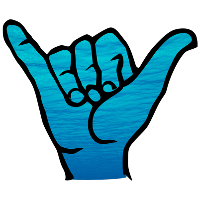 Maui Ocean Rentals shaka graphic icon with blue ocean background.