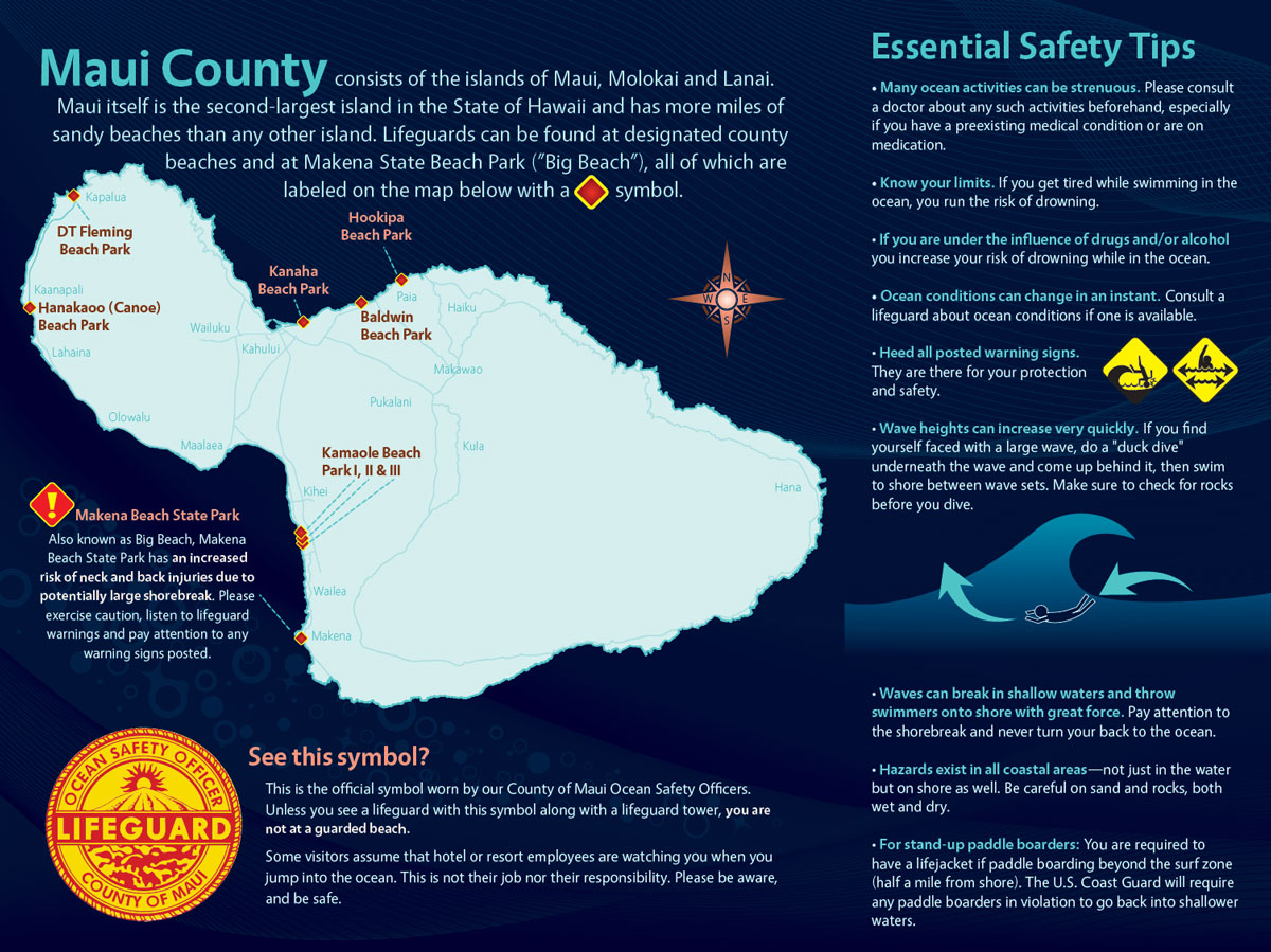 Official Maui County Ocean Safety Guide pamphlet photo of inside information.